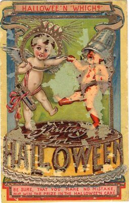 HALLOWEEN WHICH? TWO ANGEL BABIES FLYING - POSTCARD NUMBER B 154 - J. B. Co. ](Which Halloween)