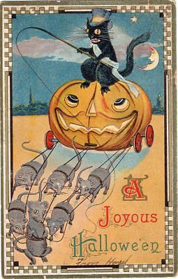 BEAUTFUL HALLOWEEN POSTCARD, CINDERELLA STYLE PUMPKIN CARRIAGE, BARTON & SPOONER - Cinderella Halloween Pumpkin