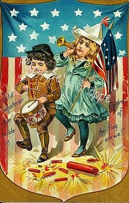 Vintage 4th of July Fabric Block Children of The Flag Postcard on Fabric
