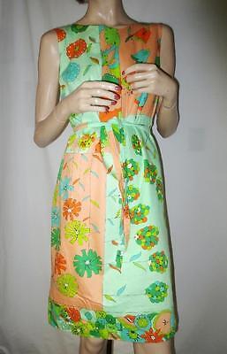 60's Theme (60's Vintage Screen Printed Multi Tulip Theme Rockabilly Shift Dress Cotton)