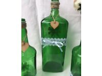 10 green handmade shabby chic glass bottles wedding centre pieces