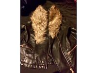 New Look black leather jacket barely worn