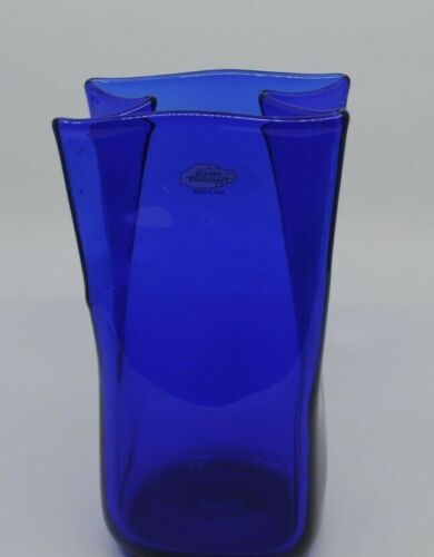 """Blenko Glass 8"""" Cobalt Blue Bag Vase"""