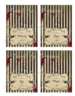 Halloween grunge personalized table name place cards set of 8 ](Halloween Name Place Cards)