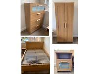 IKEA bedroom furniture set - king size bed, bedside table, dresser, wardrobe
