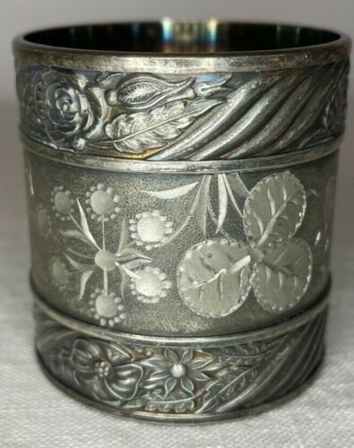 """Antique silverplate napkin ring - etched, engraved, flowers, """"F. Smith"""""""