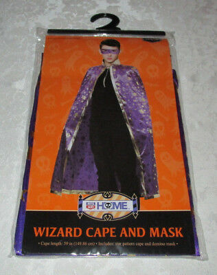 Adult Wizard Cape & Mask (59 inches cape and domino mask) Purple, Gold Stars