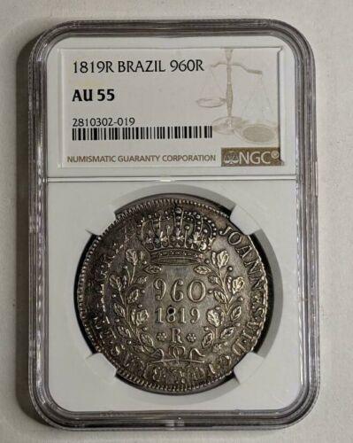 1819R Brazil Silver 960R NGC AU55