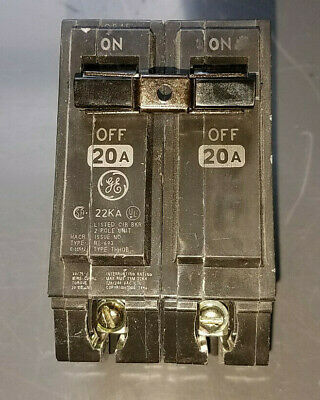 Lot Of 10 Ge Circuit Breakers 2 Pole Bolt-on Type Thhqb2120 120240 Volt 20 Amp