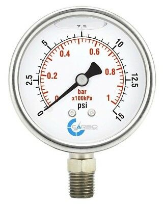 2-12 Pressure Gauge Stainless Steel Case Liquid Filled Lower Mnt 15 Psi
