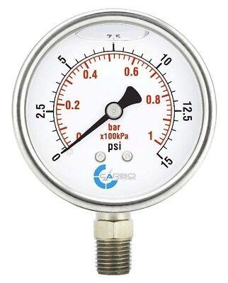2-12 Pressure Gauge Stainless Steel Case Liquid Filled Lower Mnt 15 Psi