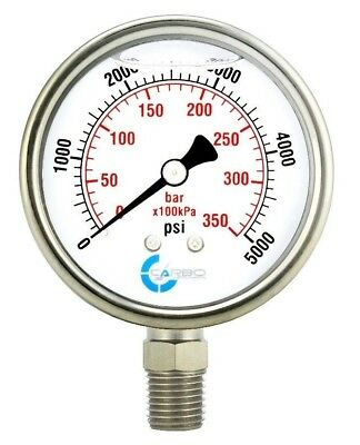 2-12 Pressure Gauge Stainless Steel Case Liquid Filled Lower Mnt 5000 Psi