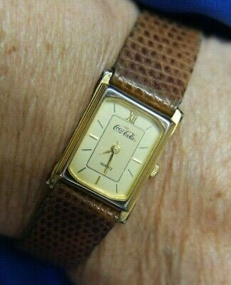 ENJOY COCA COLA BROWN LEATHER washed GOLDTONE watch FRESH battery WORKS A10