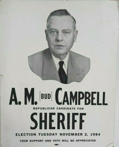 Vintage Sheriff Political Poster 1954 Election Illinois Law Enforcement Politics