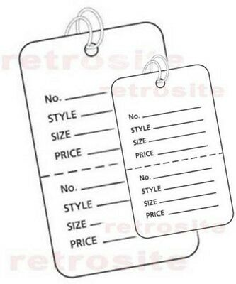 Coupon Price Tags With Strings White 2 Part Perforated Strung - Large-small
