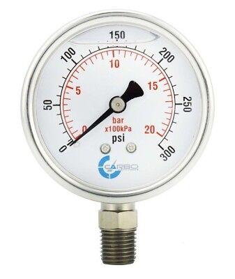2.5 Liquid Filled Pressure Gauge 0-300 Psi Stainless Steel Case Lower Mount