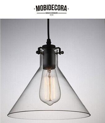 Lámpara de techo colgante cristal transparente 1 foco