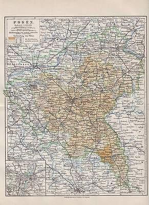 POSEN Poznań Bromberg Gnesen Lissa LANDKARTE von 1905 Wielkopolskie