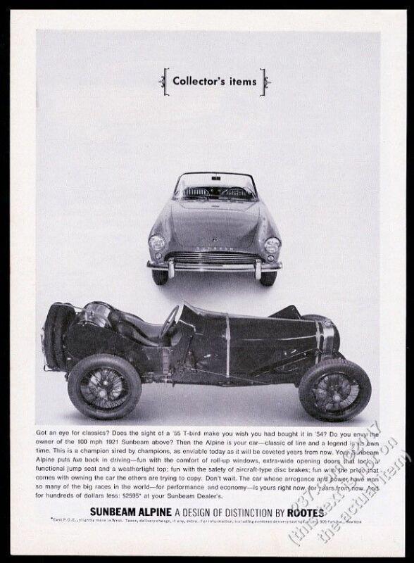 1963 Sunbeam Alpine and 1921 car photo vintage print ad