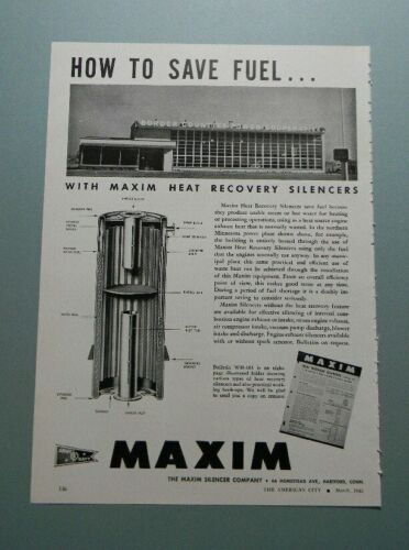 "1945 MAXIM HEAT RECOVERY SILENCERS ""HOW TO SAVE FUEL..."" SALES ART AD (MARCH)"