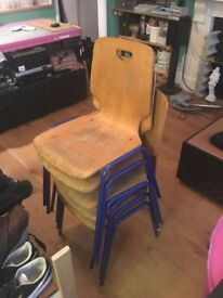 plywood and tubular steel chairs x 6