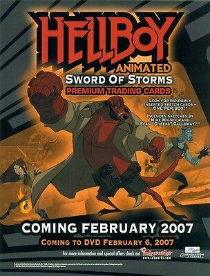 PROMO SELL SHEET AD-HELLBOY ANIMATED SWORD OF STORMS+BONUS-FREE-PROMO CARD #HA-1