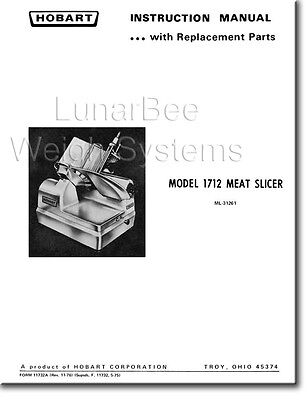 Hobart 1712 1612 Meat Slicer Operators Instruction And Parts Manual