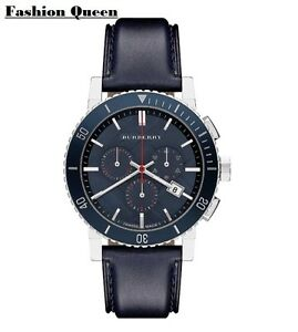 Burberry Chronograph City Watch Blue Leather Strap Mens Watch BU9383