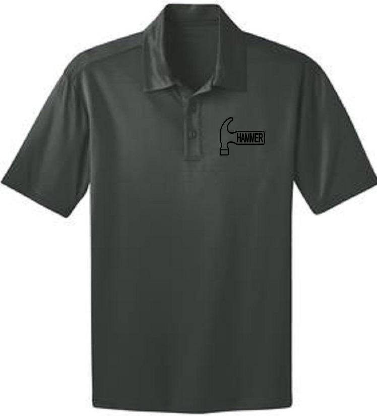 Hammer Men's Big Deal Performance Polo Bowling Shirt Dri Fit Steel Gray