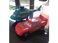Disney Pixar Talking Lightening McQueen Car plus Dinoco Talking Helicopter
