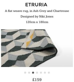 Made Etruria Flat Weave Rug in Ash Grey & Chartreuse RRP £159