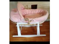 Beautiful pink quilted Moses basket