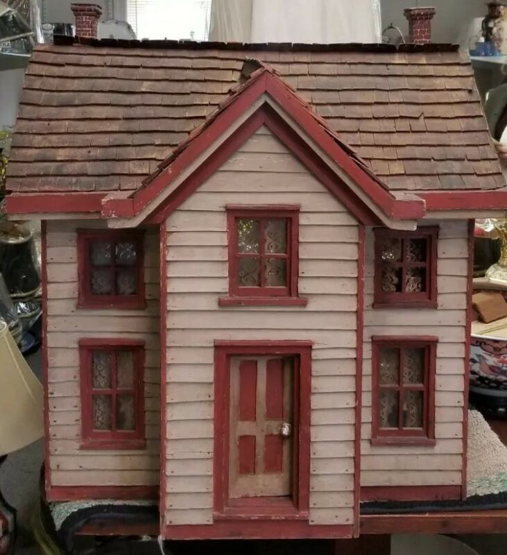 ANTIQUE LARGE DATED 1876 FOLK ART WOOD TWO STORY DOLLHOUSE