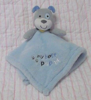 Baby Gear Blue Puppy Dog My Best Pup paw print bone fleece Baby security blanket