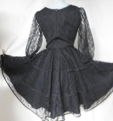 Vtg Square Dance Swing Circle Dress, Tiered Ruffle Black Lace Rockabilly Size 10 Square Dance Swing