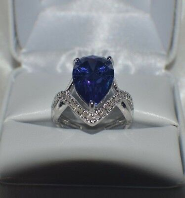GLAMOROUS 8 CARAT  PREMIUM AAAA TANZANITE & 40 VVS DIAMOND COCKTAIL RING  SIZE 7
