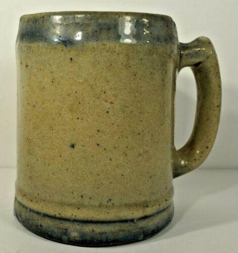 Vintage Stoneware Beer Mug With Blue Bands