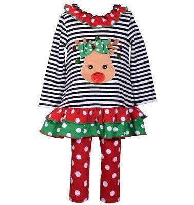 Toddler 2T-4T Ruffled Reindeer Black Christmas Dress Red Dot Leggings - Toddler Reindeer Outfit