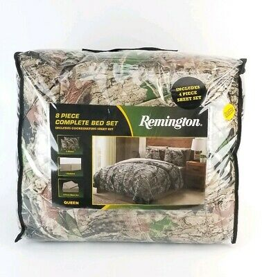 Comforter Sheets Shams Bed Skirt (Remington Camo 8 Piece Queen Comforter With Sheet Set, Bed Skirt and Shams New  )