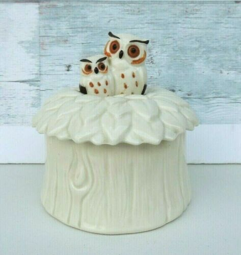 Norcrest Owl Mom and Baby Owl in Next Trinket Box Ceramic Ivory Tree Trunk Japan