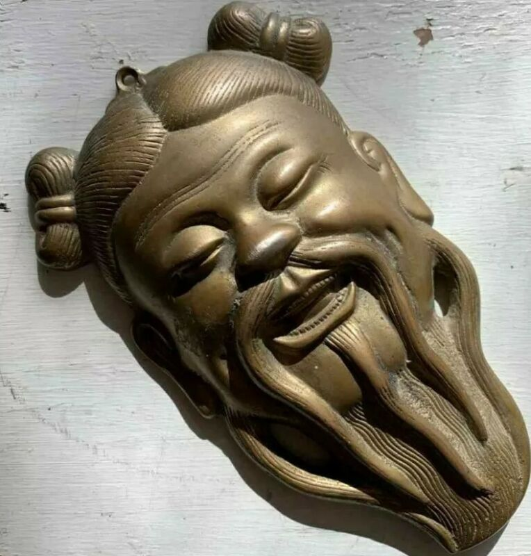 Vintage Chinese Brass Confucius Prosperity Wall Mask Hanging - Face Head