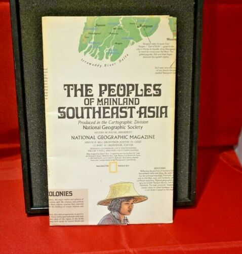1971 National Geographic Society Map the Peoples of Mainland Southeast Asia (#57