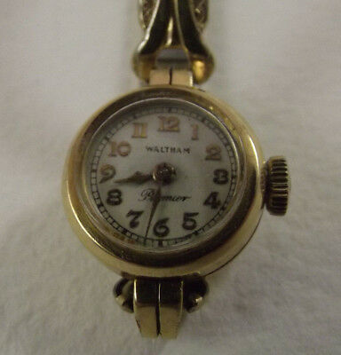 Vintage Waltham Premier Ladies Watch 14K solid Gold Bezel Spiedel Flex Band
