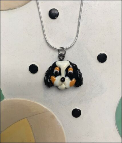 Handmade Spaniel Glass Charm Necklace - UNIQUE- New - FREE SHIPPING