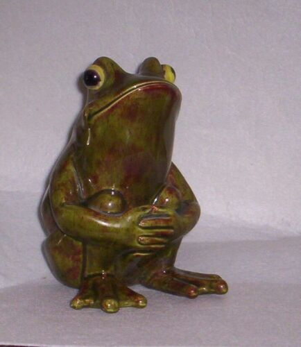 Vintage Ceramic Green Frog Figurine