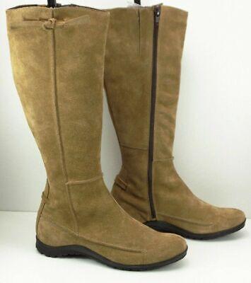 khrio italian leather boots, beige suede, tie n stitching detail, side zip, UK 4