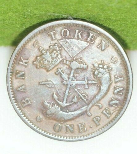 1854 Bank of Upper Canada Token One Penny