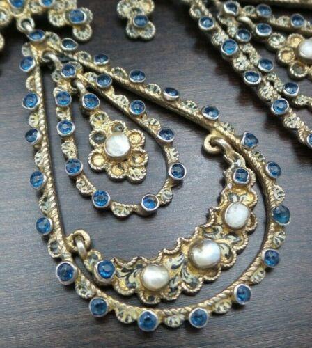 Antique 1850s European Gilt 835 Silver, Pearl & Gemstone Chandelier Earrings