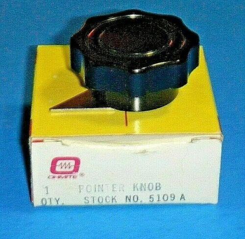"Ohmite 5109A Rheostat/ Potentiometer Knob -Finger-grip w/ Pointer for 1/4"" Shaft"