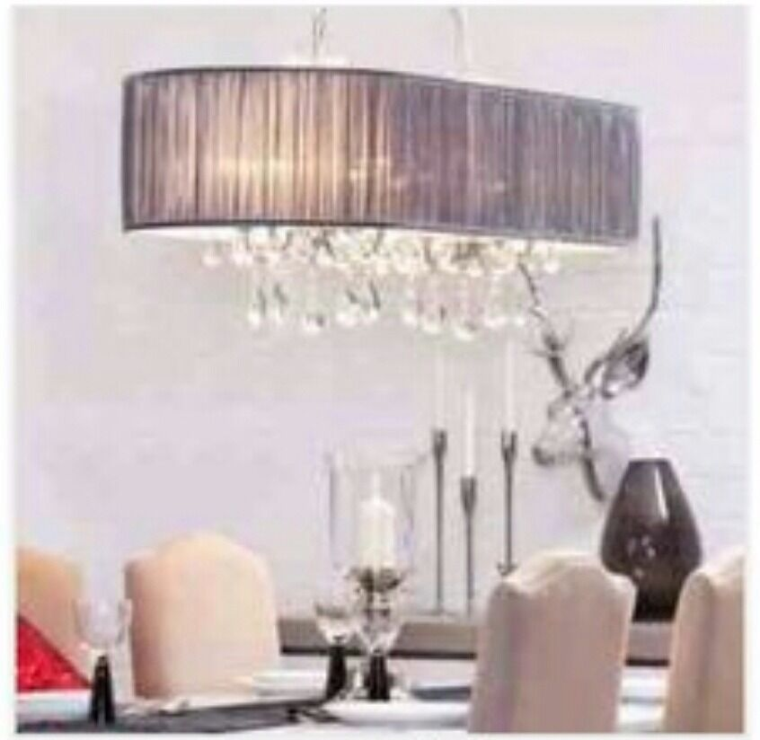 L\'amour 8 Light Double Chandelier in Pleated Shade - Grey - Brand ...